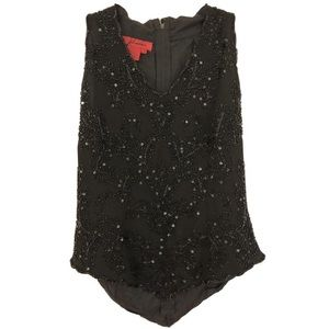 J Laxmi Black Formal Sequin and Bead Top for sale